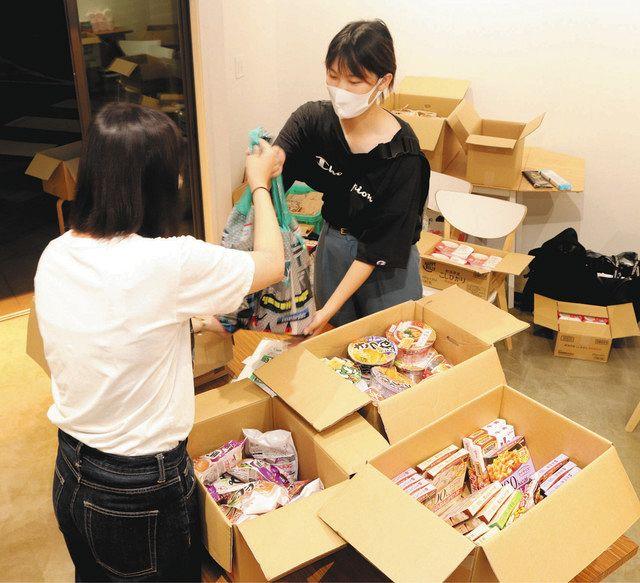 9月に行われた学生向けの食材配布会の様子=千葉市稲毛区で