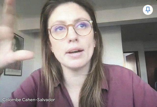 オンラインインタビューで女性の国連事務総長選出の必要性を語るコロン・サルバドールさん