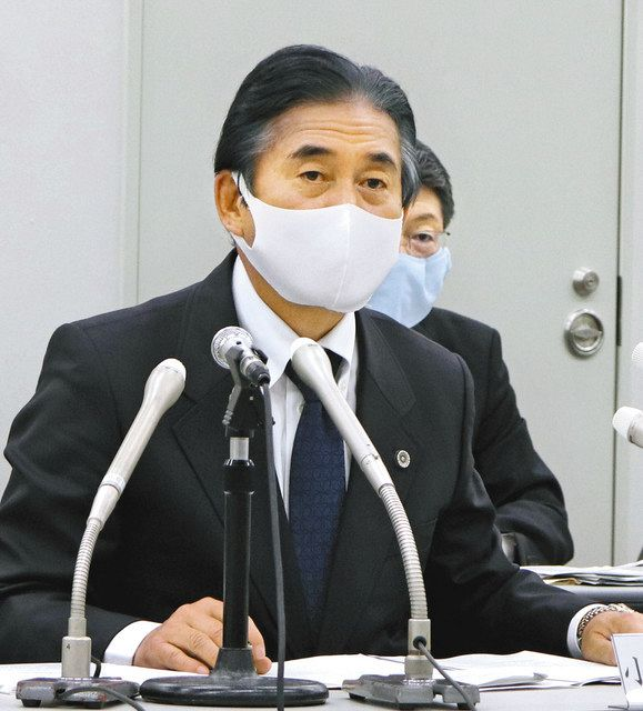 Chairman Koiso at a press conference = Both in Maebashi City