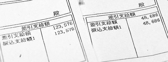 弁当会社勤務のパート男性の給与明細。1月分(左)に比べ、コロナ感染拡大後の5月分(右)は4割まで減少