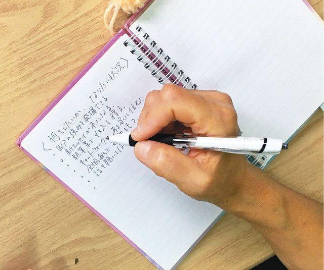 自分の目標ややりたいことを書いている豊崎礼子さんのノート