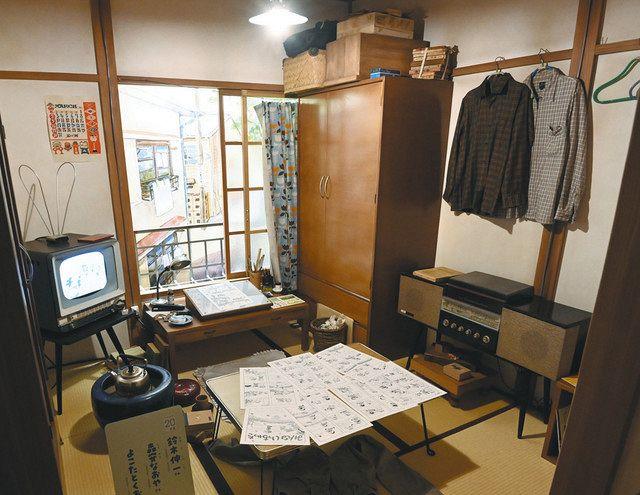 来月7日のオープンを前に報道陣に公開された「トキワ荘マンガミュージアム」。よこたとくおさんの部屋など当時の様子が再現されている
