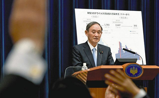 10都府県の緊急事態宣言の延長を決め、記者会見する菅首相=首相官邸