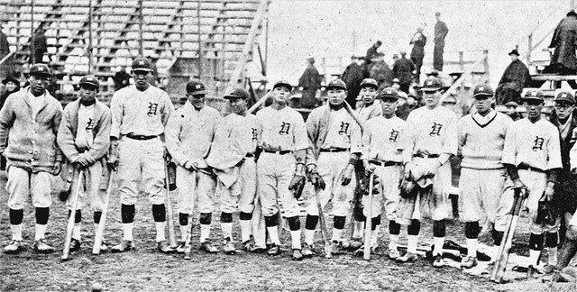 1923(大正12)年、芝浦球場で撮影された日本運動協会のメンバー=ベースボール・マガジン社提供