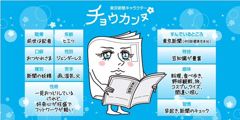 東京新聞キャラクター チョウカンヌ プロフィール